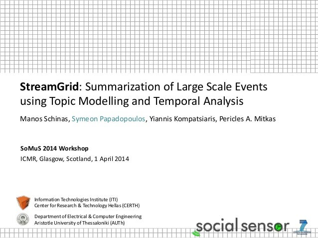 SoMuS 2014 Workshop ICMR, Glasgow, Scotland, 1 April 2014 StreamGrid: Summarization of Large Scale Events using Topic Mode...