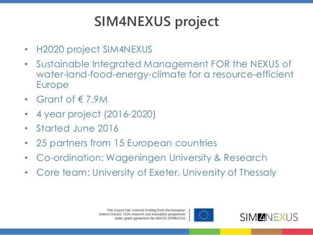 The water-land-food-energy-climate Nexus for a resource efficient Europe Slide 2