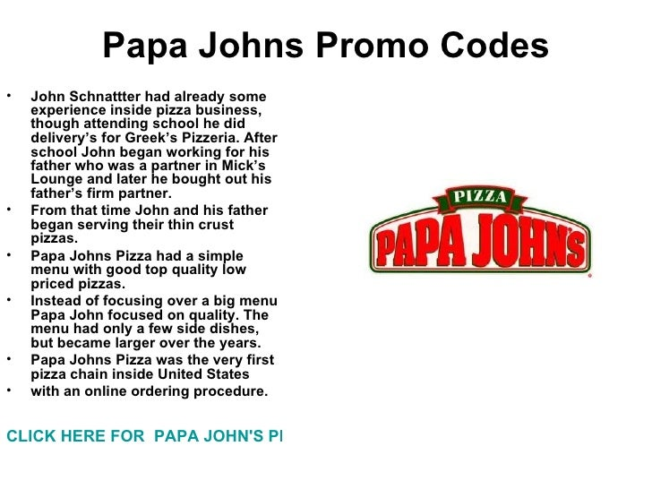 Coupon codes for papa johns