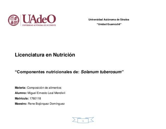 """1 Universidad Autónoma de Sinaloa """"Unidad Guamúchil"""" Licenciatura en Nutrición """"Componentes nutricionales de: Solanum tube..."""