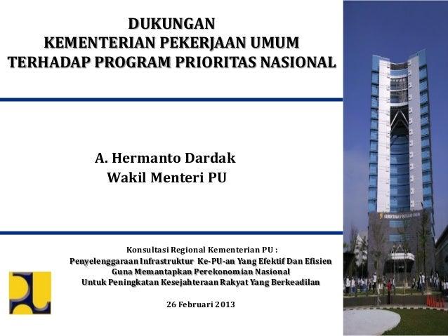 DUKUNGAN    KEMENTERIAN PEKERJAAN UMUMTERHADAP PROGRAM PRIORITAS NASIONAL            A. Hermanto Dardak              Wakil...