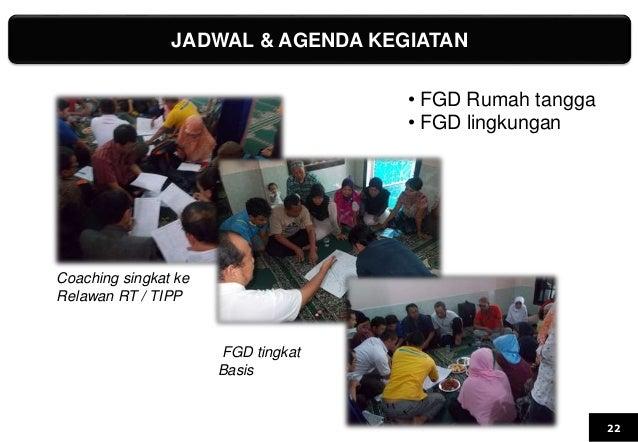 JADWAL & AGENDA KEGIATAN 22 Coaching singkat ke Relawan RT / TIPP FGD tingkat Basis • FGD Rumah tangga • FGD lingkungan