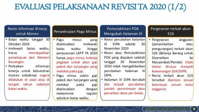 DIREKTORAT SISTEM PENGANGGARAN EVALUASI PELAKSANAAN REVISITA 2020 (1/2) 8 Revisi Informasi Kinerja untuk Monev Penyelesaia...