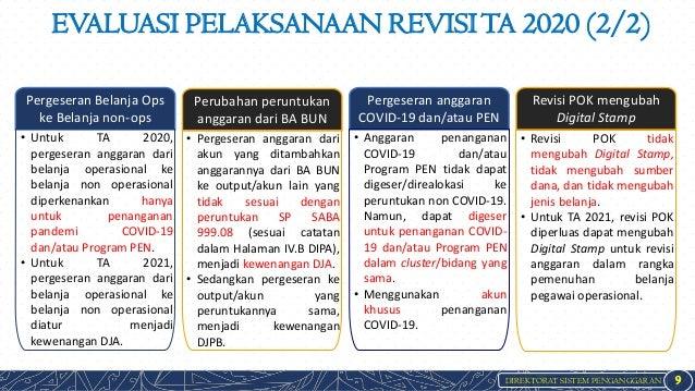 DIREKTORAT SISTEM PENGANGGARAN EVALUASI PELAKSANAAN REVISITA 2020 (2/2) 9 Pergeseran Belanja Ops ke Belanja non-ops Peruba...