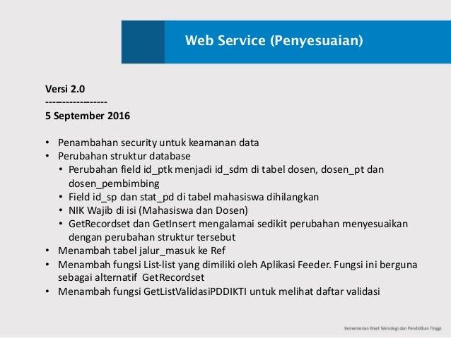 Web Service (Penyesuaian) Versi 2.0 ------------------ 5September2016 • Penambahan securityuntuk keamanan data • Peruba...