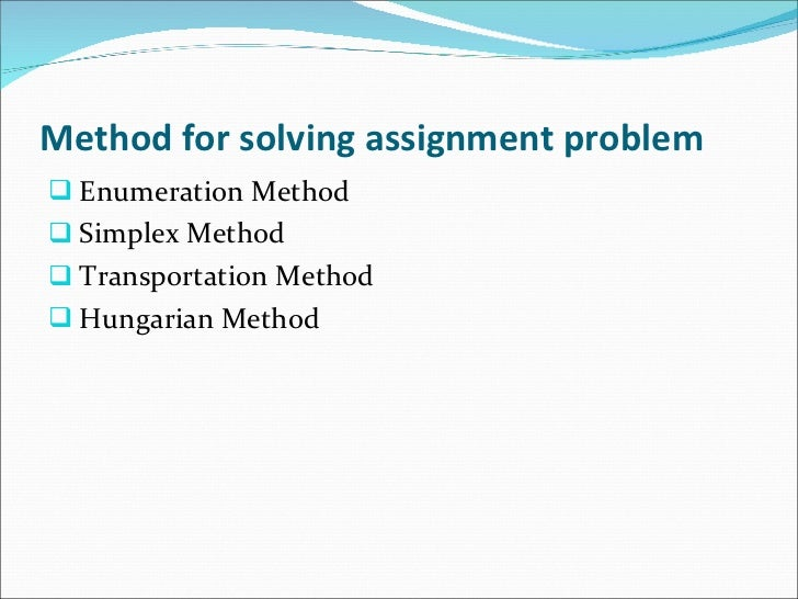 meaning of assignment problem