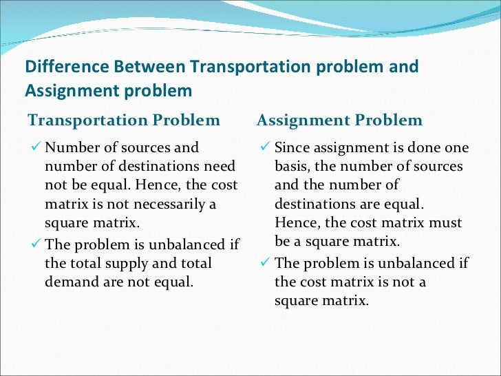 Transportation problem and assignment problem
