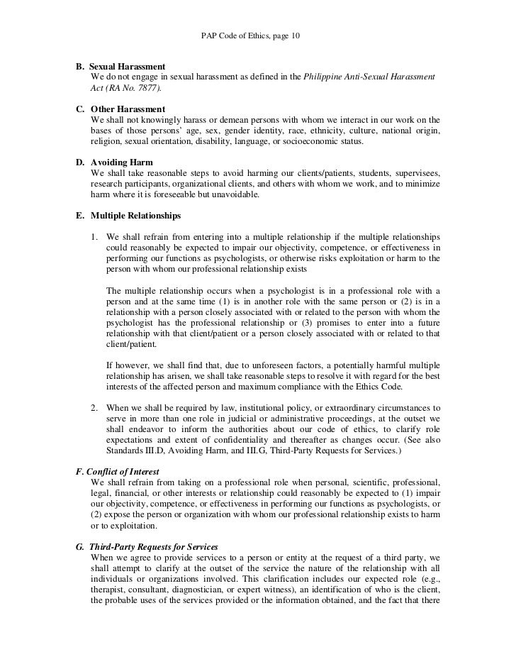 codes of conduct and harassment essay Incase of any complaints, the harassed must report to the concerned manager  this code of conduct also applies to all the business partners.