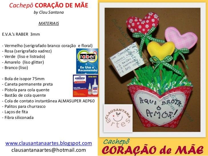 Cachepô CORAÇÃO DE MÃE                by Clau Santana                   MATERIAISE.V.A.'s RABER 3mm- Vermelho (serigrafado...