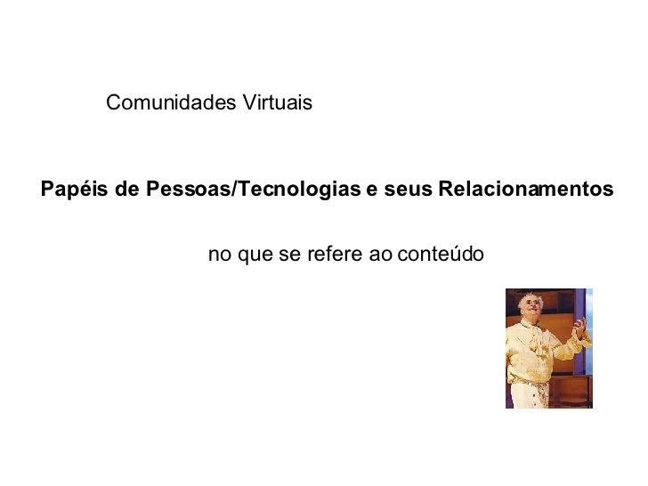 Papéis de Pessoas/Tecnologias e seus Relacionamentos no que se refere ao conteúdo Comunidades Virtuais