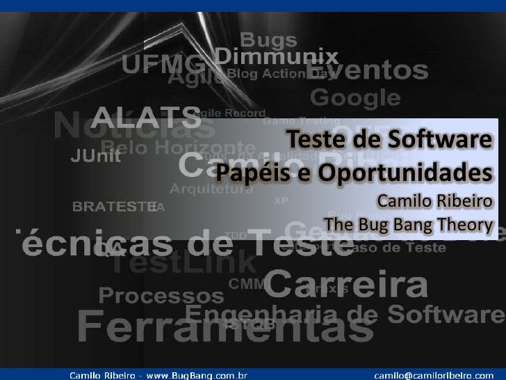 Teste de Software <br />Papéis e Oportunidades<br />Camilo Ribeiro<br />The Bug Bang Theory<br />