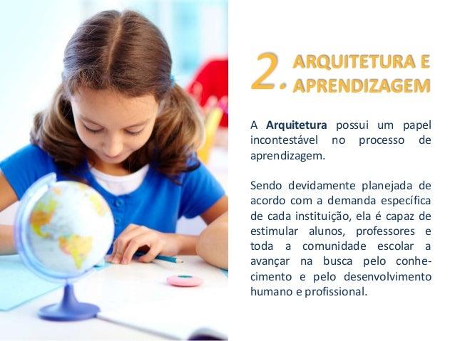 ARQUITETURA E  APRENDIZAGEM 2.  A Arquitetura possui um papel  incontestável no processo de  aprendizagem.  Sendo devidame...