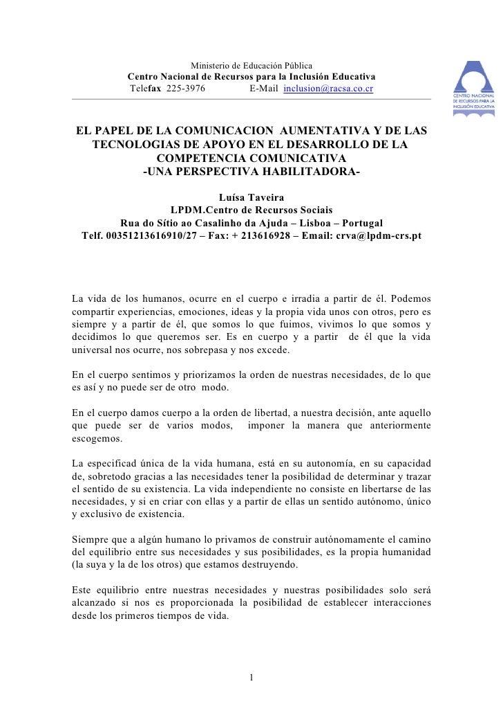 Ministerio de Educación Pública             Centro Nacional de Recursos para la Inclusión Educativa             Telefax 22...