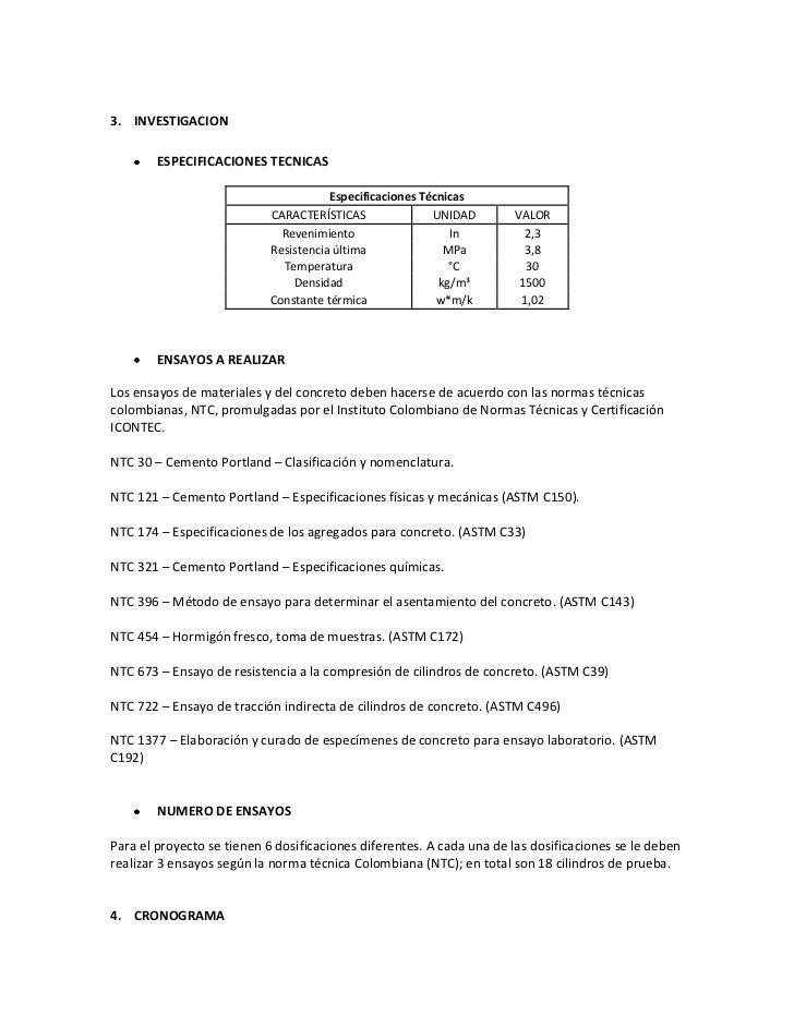 3. INVESTIGACION        ESPECIFICACIONES TECNICAS                                       Especificaciones Técnicas         ...