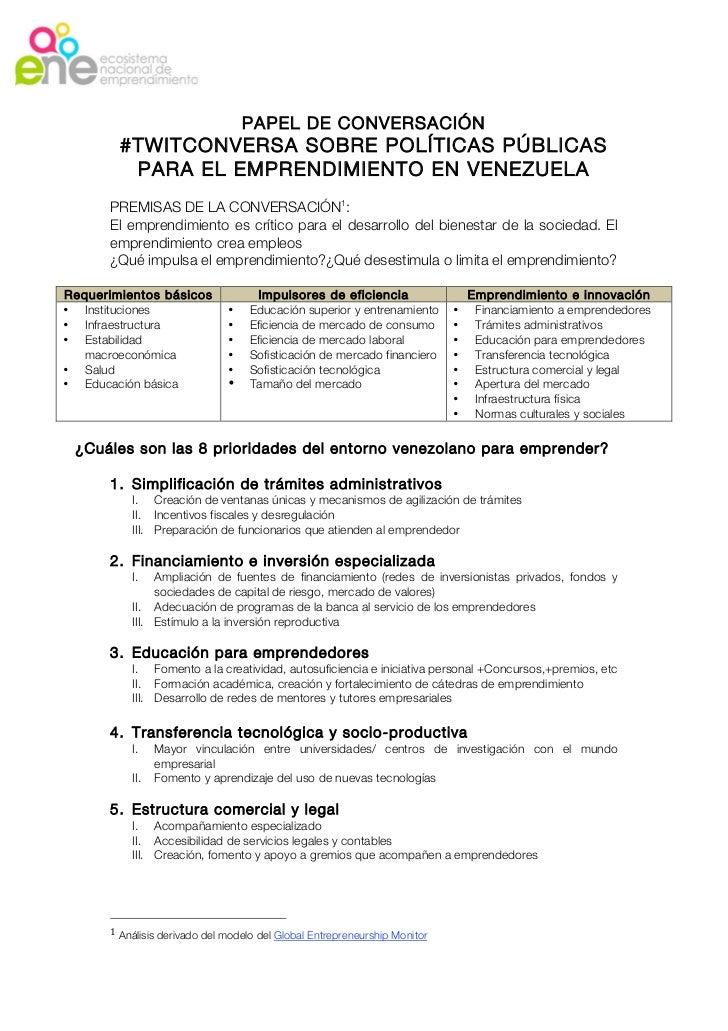 PAPEL DE CONVERSACIÓN        #TWITCONVERSA SOBRE POLÍTICAS PÚBLICAS         PARA EL EMPRENDIMIENTO EN VENEZUELA      PREMI...
