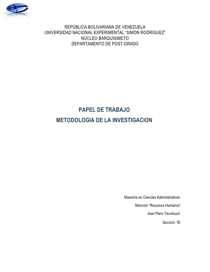 "REPÙBLICA BOLIVARIANA DE VENEZUELAUNIVERSIDAD NACIONAL EXPERIMENTAL ""SIMÒN RODRIGUEZ""                NÙCLEO BARQUISIMETO  ..."