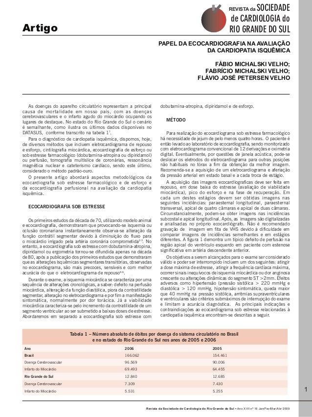 Revista da Sociedade de Cardiologia do Rio Grande do Sul • Ano XVII nº 16 Jan/Fev/Mar/Abr 2009  Artigo Papel da Ecocardiog...