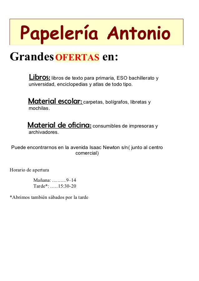 Papelería AntonioGrandes OFERTAS en:         Libros: libros de texto para primaria, ESO bachillerato y         universidad...
