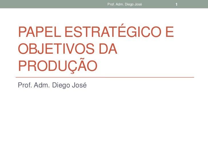 Prof. Adm. Diego José   1PAPEL ESTRATÉGICO EOBJETIVOS DAPRODUÇÃOProf. Adm. Diego José