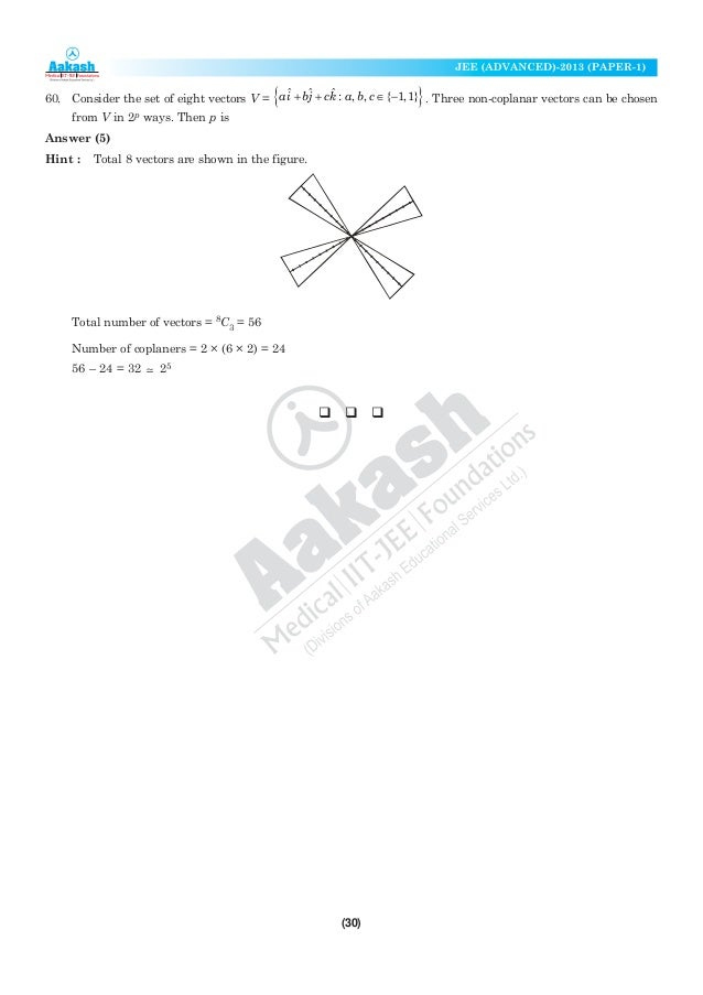 Aakash JEE Advance Solution Paper1