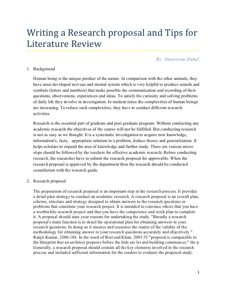 Writing a Research proposal and Tips forLiterature Review                                                                 ...