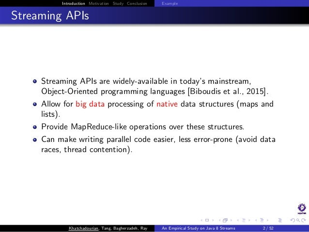 An Empirical Study on the Use and Misuse of Java 8 Streams Slide 2