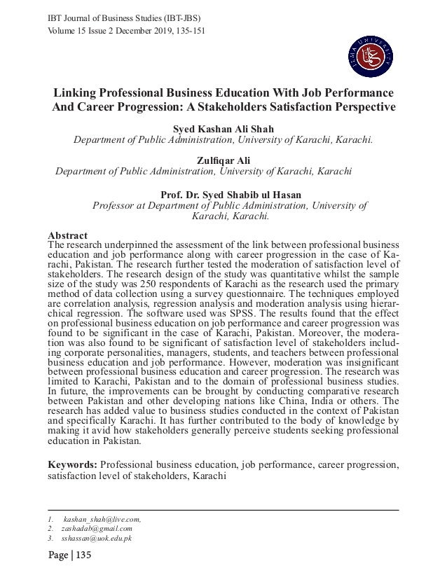 IBT Journal of Business Studies (IBT-JBS) Page | 135 Linking Professional Business Education With Job Performance And Care...