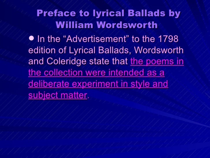 preface to lyrical ballads by wordsworth essay