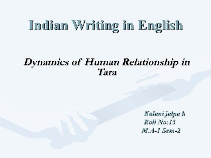 Indian Writing in English Dynamics of Human Relationship in Tara Kalani jalpa h Roll No:13 M.A-1 Sem-2
