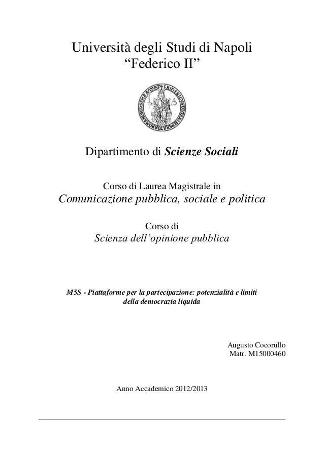 """Università degli Studi di Napoli""""Federico II""""Dipartimento di Scienze SocialiCorso di Laurea Magistrale inComunicazione pub..."""