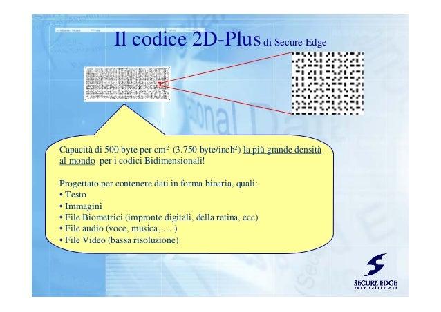 Il codice 2D-Plusdi Secure Edge Capacità di 500 byte per cm2 (3.750 byte/inch2) la più grande densità al mondo per i codic...