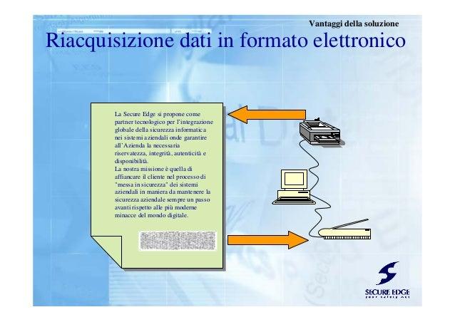 Riacquisizione dati in formato elettronico Vantaggi della soluzione La Secure Edge si propone come partner tecnologico per...