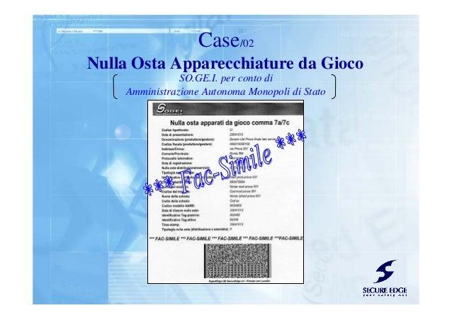 Nulla Osta Apparecchiature da Gioco Case/02 SO.GE.I. per conto di Amministrazione Autonoma Monopoli di Stato