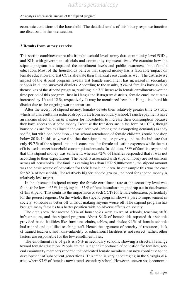 Author's personal copy An analysis of the social impact of the stipend program  economic conditions of the household. The ...