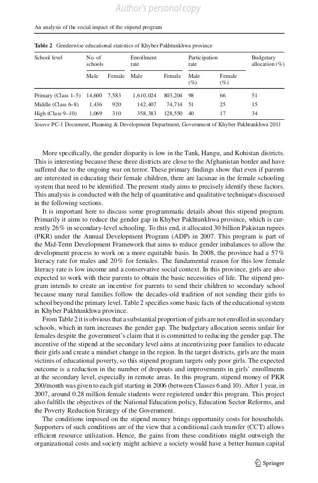Author's personal copy An analysis of the social impact of the stipend program Table 2 Genderwise educational statistics o...