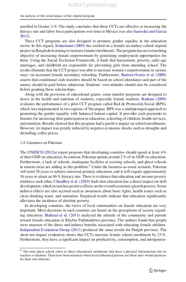 Author's personal copy An analysis of the social impact of the stipend program  enrolled in Grades 3–9. The study conclude...