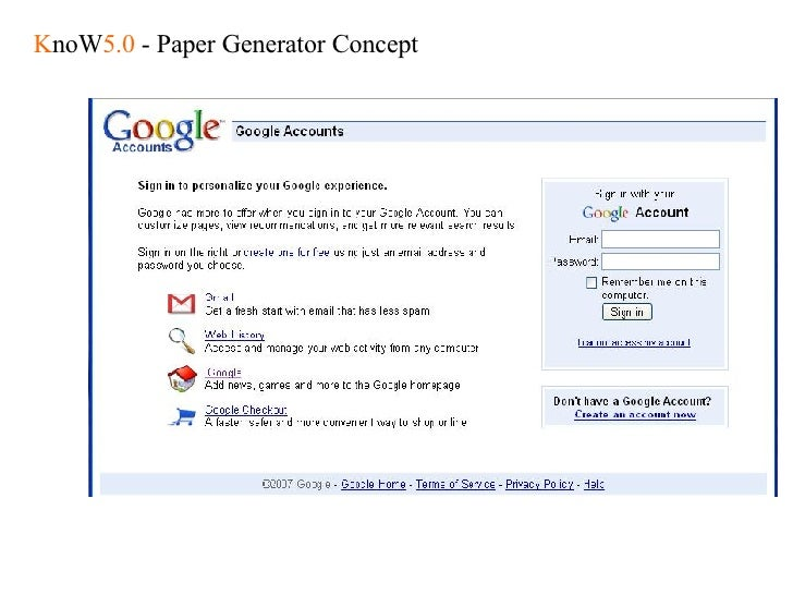 K noW 5.0  - Paper Generator Concept