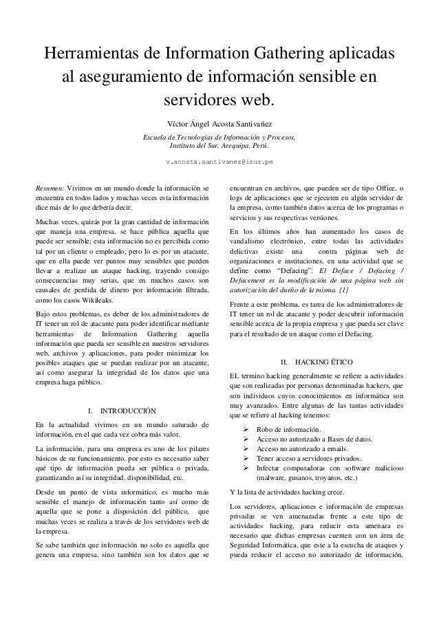 Herramientas de Information Gathering aplicadas    al aseguramiento de información sensible en                  servidores...