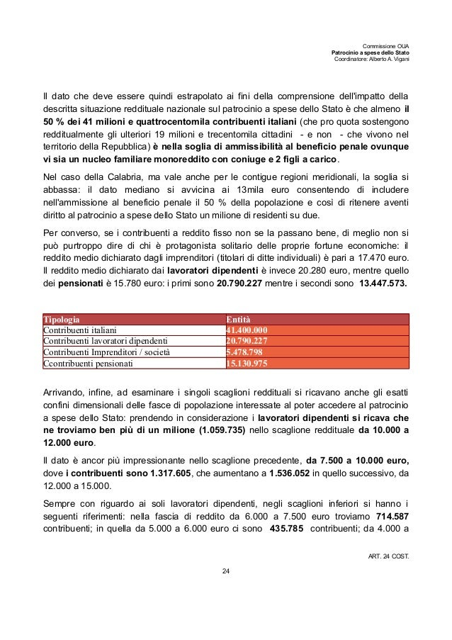 Commissione OUA Patrocinio a spese dello Stato Coordinatore: Alberto A. Vigani Il dato che deve essere quindi estrapolato ...