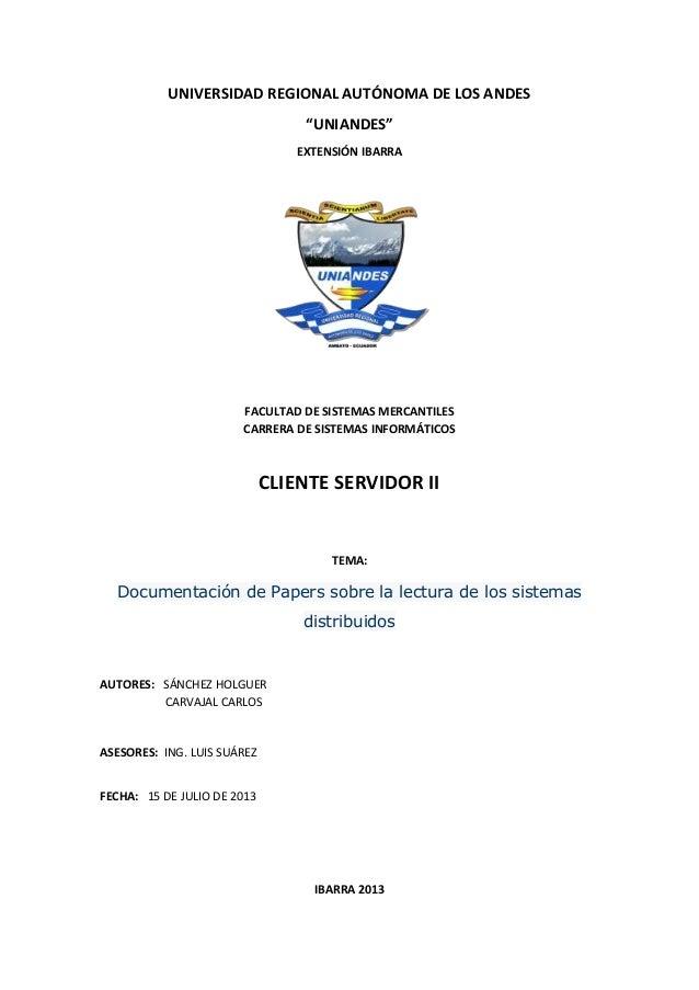 """UNIVERSIDAD REGIONAL AUTÓNOMA DE LOS ANDES """"UNIANDES"""" EXTENSIÓN IBARRA FACULTAD DE SISTEMAS MERCANTILES CARRERA DE SISTEMA..."""