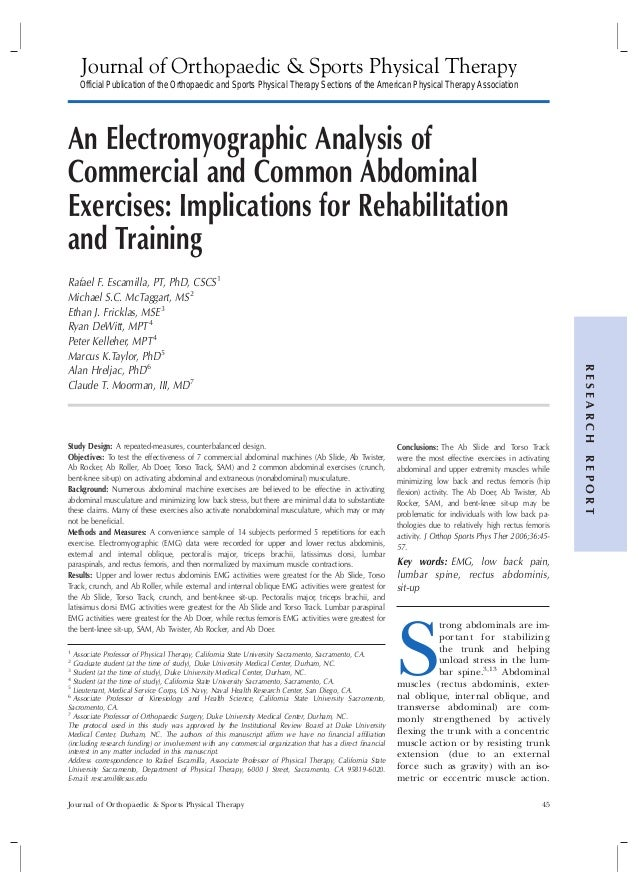 An Electromyographic Analysis of Commercial and Common Abdominal Exercises: Implications for Rehabilitation and Training R...
