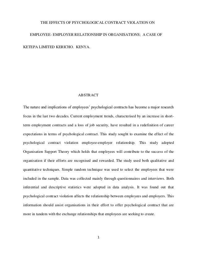 THE EFFECTS OF PSYCHOLOGICAL CONTRACT VIOLATION ON    EMPLOYEE- EMPLOYER RELATIONSHIP IN ORGANISATIONS; A CASE OFKETEPA LI...