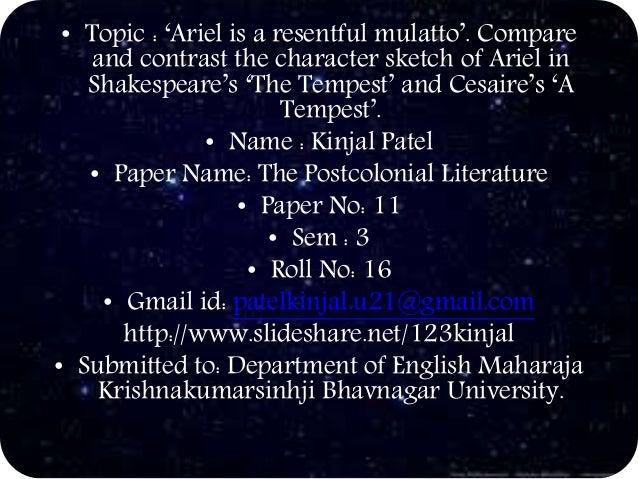 Ariel caliban compare contrast essay