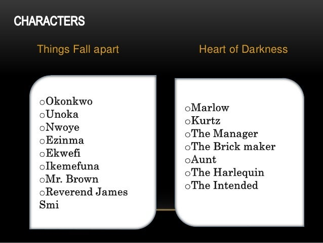 an overview of the things fall apart and heart of darkness characters When the europeans arrived in nigeria to harvest ivory and spread their religious ideals, many africans were exploited and their cultures were irreversibly changed two novels, heart of darkness by joseph conrad and things fall apart by chinua achebe, provide accounts of how the white man impacted.