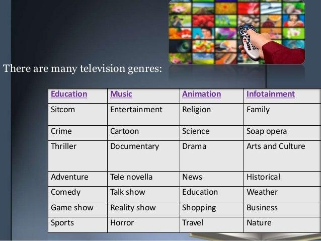 Education Music Animation Infotainment Sitcom Entertainment Religion Family Crime Cartoon Science Soap opera Thriller Docu...