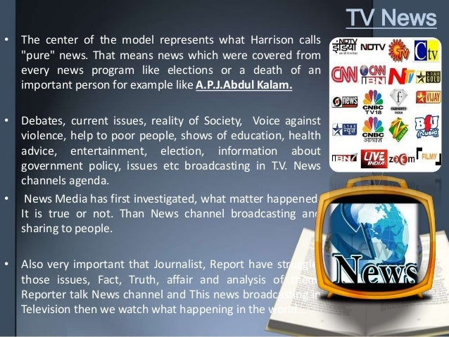 """TV News • The center of the model represents what Harrison calls """"pure"""" news. That means news which were covered from ever..."""
