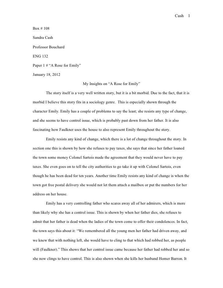 A rose for emily critical essay