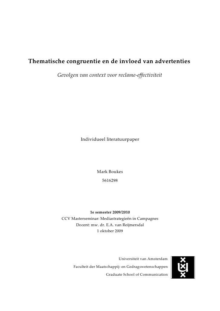 Thematische congruentie en de invloed van advertenties           Gevolgen van context voor reclame-effectiviteit          ...