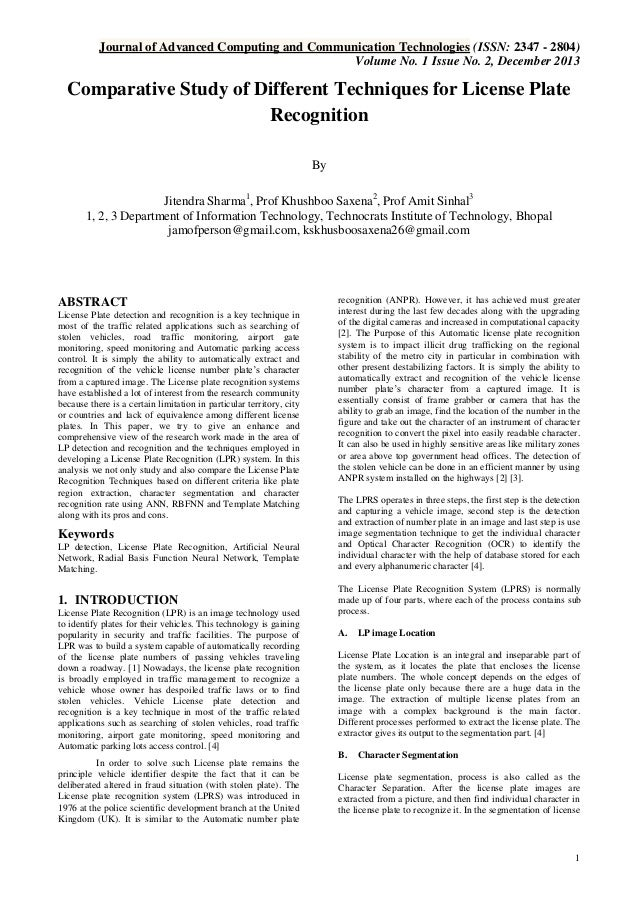 Journal of Advanced Computing and Communication Technologies (ISSN: 2347 - 2804) Volume No. 1 Issue No. 2, December 2013  ...
