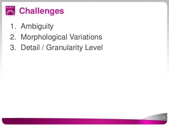 Challenges1. Ambiguity2. Morphological Variations3. Detail / Granularity Level                                11